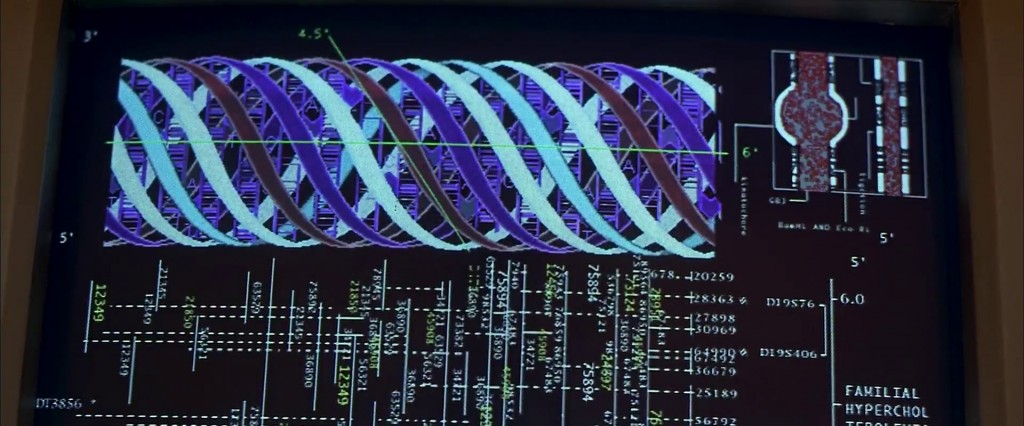 An image of ACTUAL (fictional) alien DNA. This one has a 15 stranded double helix, which CLEARLY makes it more complicated than our humdrum double stranded type. Clearly. (from the movie The Fifth Element)